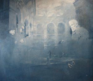 2. central hall time and tide my grandmother as a child far left visiting her grandfather george otto right 160cm x 140cm 2012