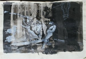 After Goya IV (mixed media on paper on wood, 20cm x 29cm, unframed)