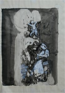 After Goya III (mixed media on paper on wood, 20cm x 29cm, unframed)
