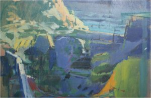 Agua Amarga III (oil on wood, 57cm x 27cm, unframed) price to be confirmed