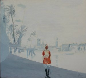 Alwar and the eye (oil on muslin on wood, 45xm x 50cm, unframed) £1000