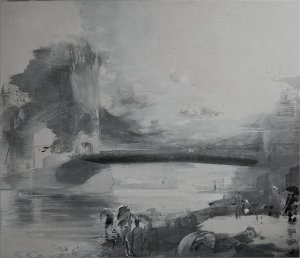 b  w hill street n67 gull and calcutta aircraft at tower 110cm x 130cm oil on muslin on wood sold
