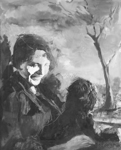 b  w past  present  painting patricia-and-dog