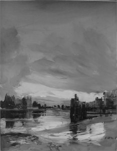 b  w river  rowing museum crabtree beach oil on linen on wood 103cm x 128cm sold