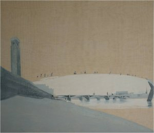 Bankside sos (oil on linen on wood, 58cm x 66cm, framed) Sold