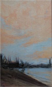 Battersea (oil on muslin on wood, 20cm x 30cm, framed)