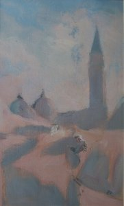 Campanile III (oil on muslin on wood, 40cm x 65cm framed)