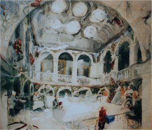 central hall wallington oil on muslin on wood c.100cm x 120cm framed sold