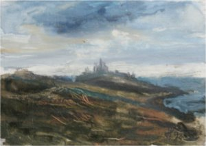 Dunstanburgh, Northumberland (oil on board, 17cm x 14cm, unframed)