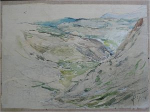 Gillercomb in the Lake District I (oil on muslin on wood, 40cm x 30cm, unframed)