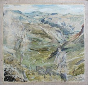 Gillercomb in the Lake District III (oil on muslin on wood, 30cm x 30cm, unframed)