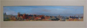 Heaton terrace (oil on board, c.60cm x 25cm, framed)