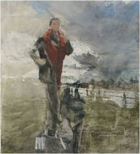 Standing Figure (oil on linen on wood, 46cm x 64cm, framed) £1300