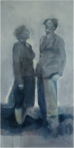 just imagine engaged 1940 oil on muslin on wood  75cm x 150cm not for sale from the artists collection