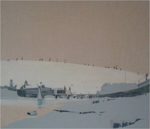 Millennium looking east (oil on linen on wood, 58cm x 66cm, framed) Sold