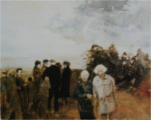 Northumberland - standing figures (oil on muslin on wood) not for sale from the artist's collection