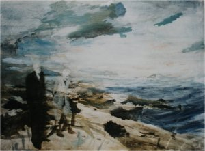 Northumberland - two standing figures (oil on muslin on wood) sold