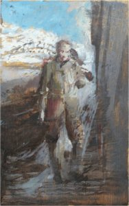 Northumberland standing figure II (oil on wood, 24cm x 14cm, unframed)