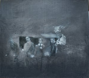 Old tales III (oil on muslin on wood, 45cm x 50cm, unframed)