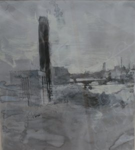 power station oil and graphite on paper 80 x 90cm