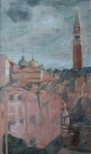 rooftop venice oil on muslin on wood c.45cm x 70cm framed 3000 gbp
