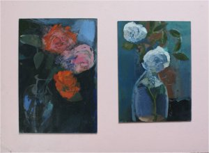 Roses (oil on card, 30cm x 44cm, mounted)