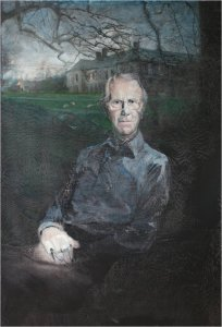 sir geoffrey trevelyan 5th bart. of wallington 1920-2011oil on muslin on wood 100cm x 120cm detail