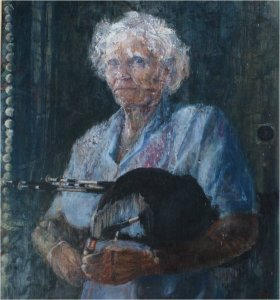 the artists grandmother patricia - with northumbrian smallpipes oil on wood c.60cm x 70cm not for sale from the artists collection