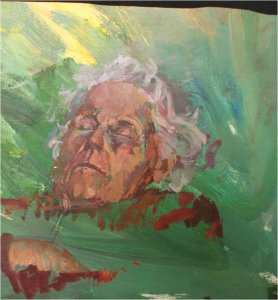 The artist's grandmother, Patricia, asleep (oil on wood, 40cm x 40cm) not for sale from the artist's collection