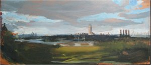 The river at Greenwich (oil on wood, c18cm x 40cm, unframed) sold