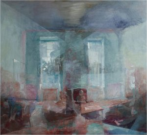 Untitled - 'Great Western' room, Wallinton  (Oil on muslin on wood, 119cm x 130cm, unframed) price to be confirmed