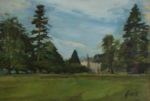 Wallington east front (oil on muslin on board, c.30cm x 45cm, unframed) £600