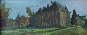 Wallington (oil on board, 18cm x 36cm, framed)