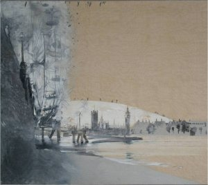 Westminster (oil on linen on wood, 58cm x 66cm, framed) Sold